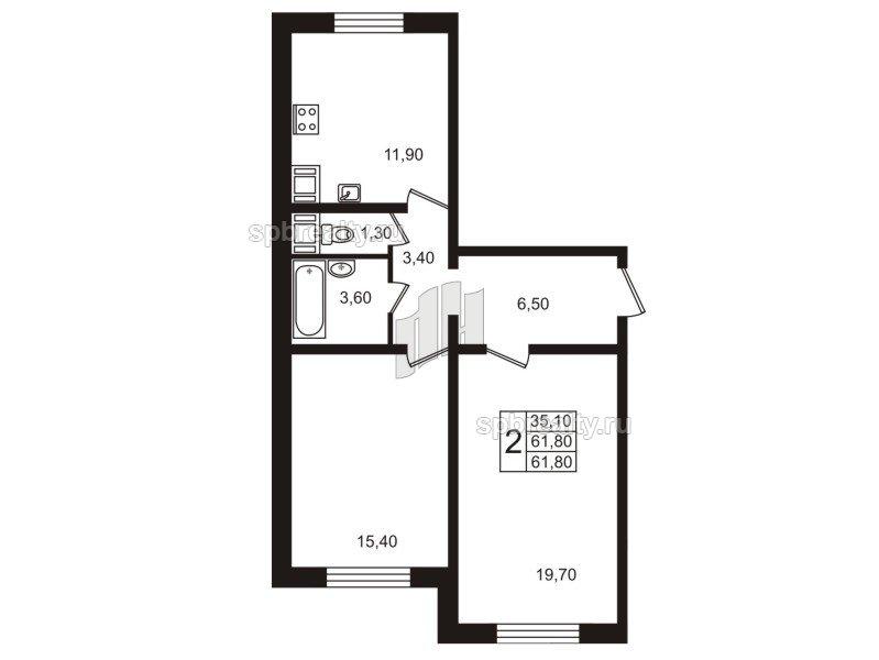 Планировка Двухкомнатная квартира площадью 61.8 кв.м в ЖК «София»