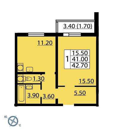 Планировка Однокомнатная квартира площадью 43.6 кв.м в ЖК «София»