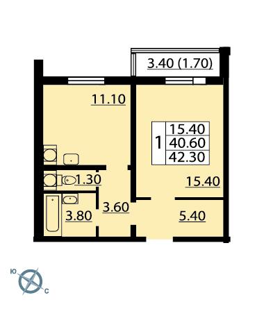 Планировка Однокомнатная квартира площадью 42.2 кв.м в ЖК «София»