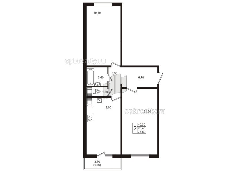Планировка Двухкомнатная квартира площадью 74.5 кв.м в ЖК «София»