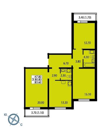 Планировка Трёхкомнатная квартира площадью 83.6 кв.м в ЖК «София»