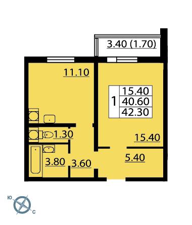 Планировка Однокомнатная квартира площадью 43.1 кв.м в ЖК «София»