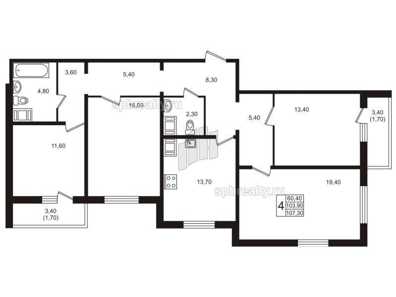 Планировка Четырёхкомнатная квартира площадью 107.5 кв.м в ЖК «София»
