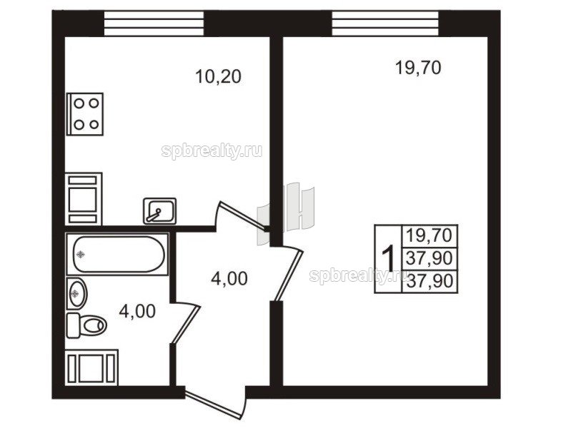 Планировка Однокомнатная квартира площадью 37.7 кв.м в ЖК «София»
