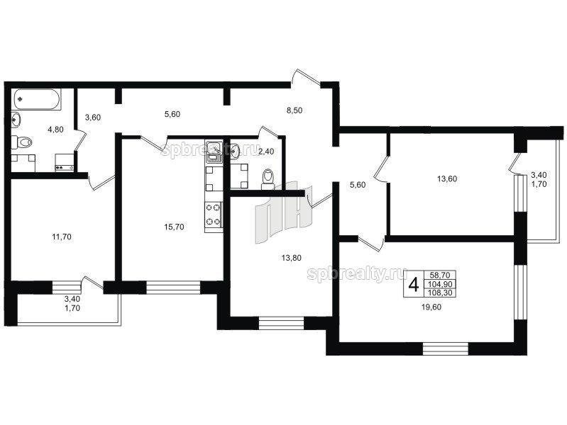 Планировка Четырёхкомнатная квартира площадью 109.1 кв.м в ЖК «София»