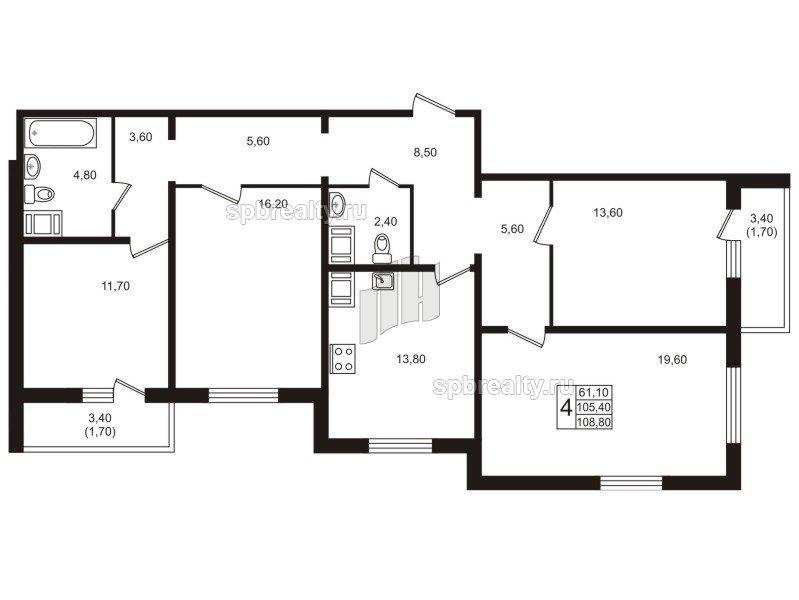 Планировка Четырёхкомнатная квартира площадью 108.9 кв.м в ЖК «София»