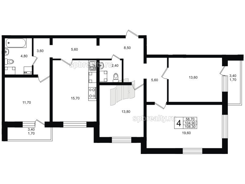 Планировка Четырёхкомнатная квартира площадью 109.2 кв.м в ЖК «София»