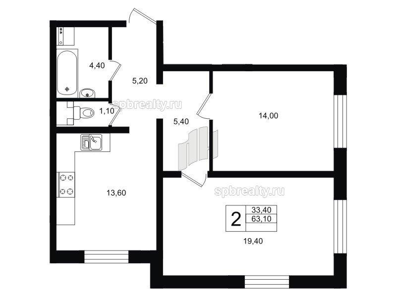 Планировка Двухкомнатная квартира площадью 63.1 кв.м в ЖК «София»