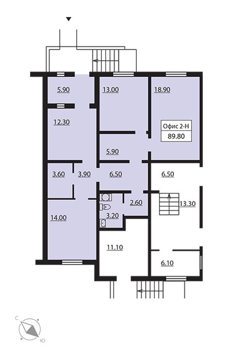 Планировка Коммерческое помещение площадью 90.6 кв.м в ЖК «София»
