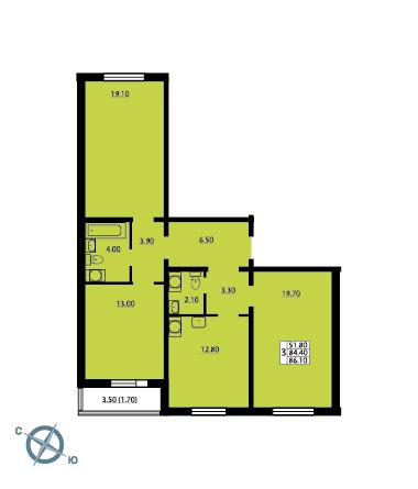 Планировка Трёхкомнатная квартира площадью 85.5 кв.м в ЖК «София»