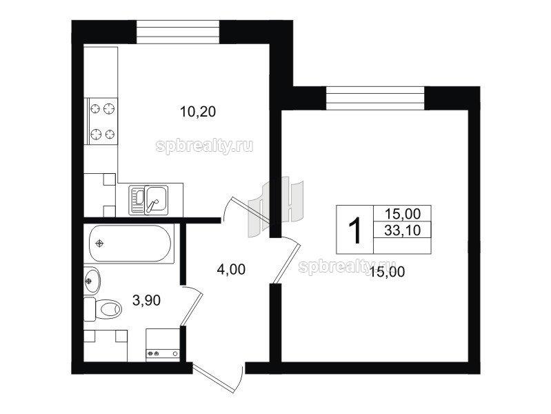 Планировка Однокомнатная квартира площадью 33.1 кв.м в ЖК «София»