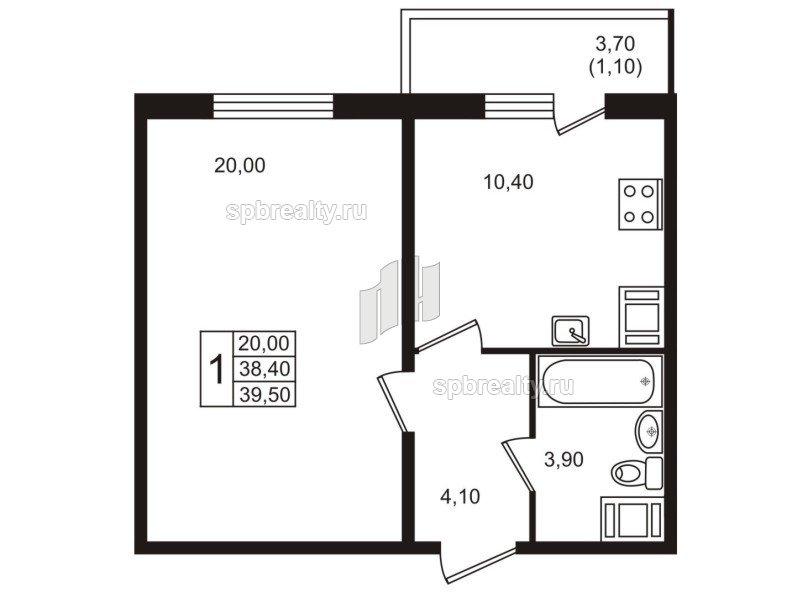 Планировка Однокомнатная квартира площадью 39.5 кв.м в ЖК «София»