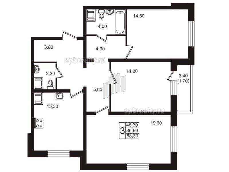 Планировка Трёхкомнатная квартира площадью 88.2 кв.м в ЖК «София»