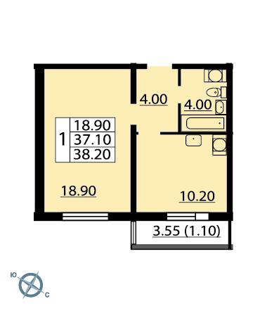 Планировка Однокомнатная квартира площадью 38.4 кв.м в ЖК «София»