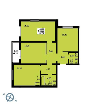 Планировка Трёхкомнатная квартира площадью 82.4 кв.м в ЖК «София»