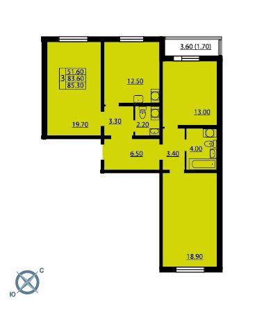 Планировка Трёхкомнатная квартира площадью 85.3 кв.м в ЖК «София»