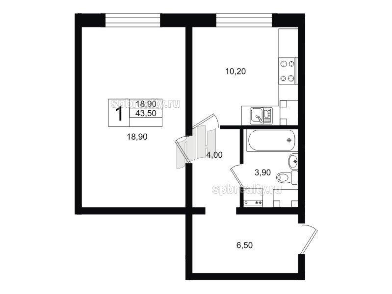 Планировка Однокомнатная квартира площадью 43.5 кв.м в ЖК «София»