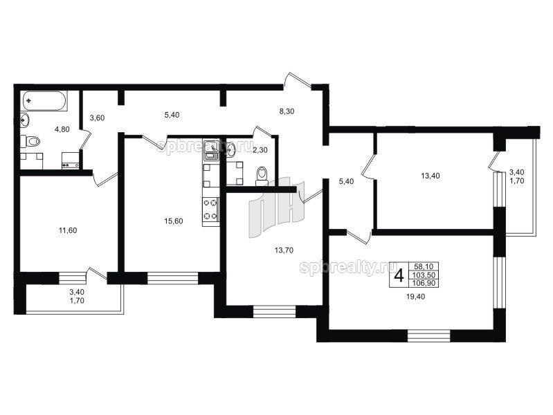 Планировка Четырёхкомнатная квартира площадью 106.9 кв.м в ЖК «София»