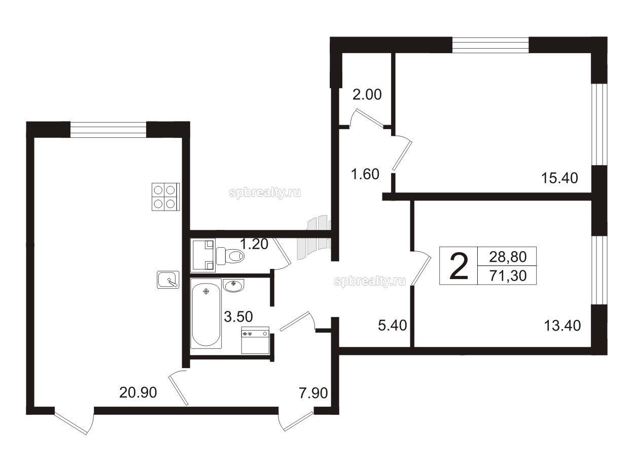 Планировка Двухкомнатная квартира площадью 70.8 кв.м в ЖК «София»